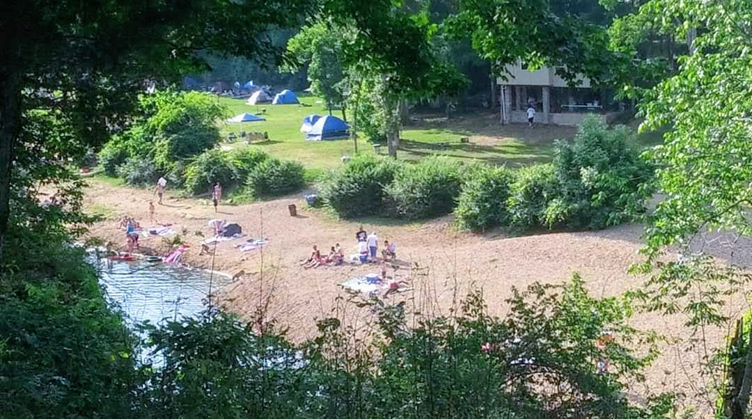 Campground along the bank of the Piney river